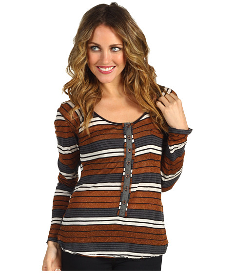 Bluze Free People - Striped Old School Henley - Copper Combo