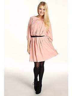 Rochii Jessica Simpson Long Sleeve Pintuck Dress Cafe Cream | mycloset.ro