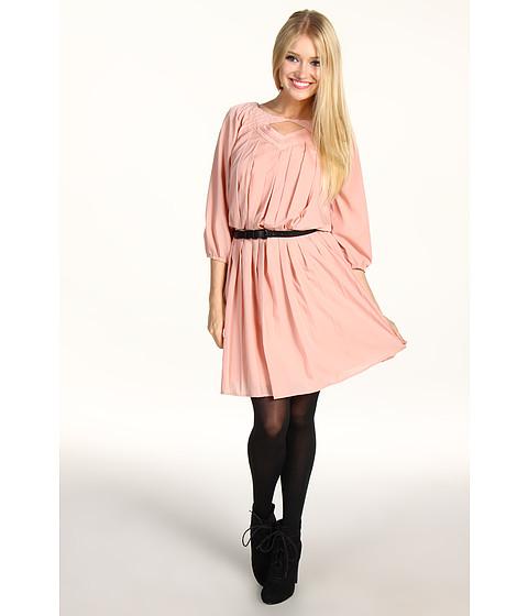 Rochii Jessica Simpson - Long Sleeve Pintuck Dress - Cafe Cream