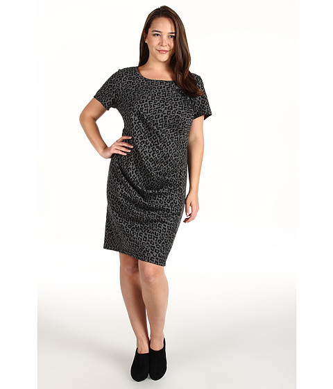 Rochii DKNY - Plus Size Leopard Print S/S Dress w/ Side Ruching - Heather Charcoal