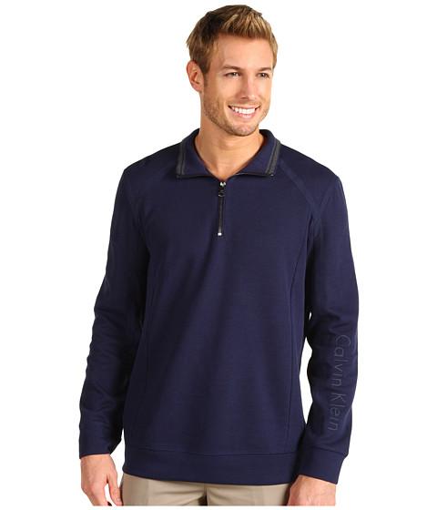 Tricouri Calvin Klein - L/S 1/4 Zip Rib w/ Suede - Atlantic Blue