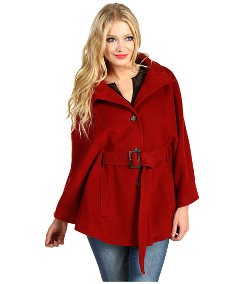 Jachete Cole Haan - Belted Wool Plush Cape - Red