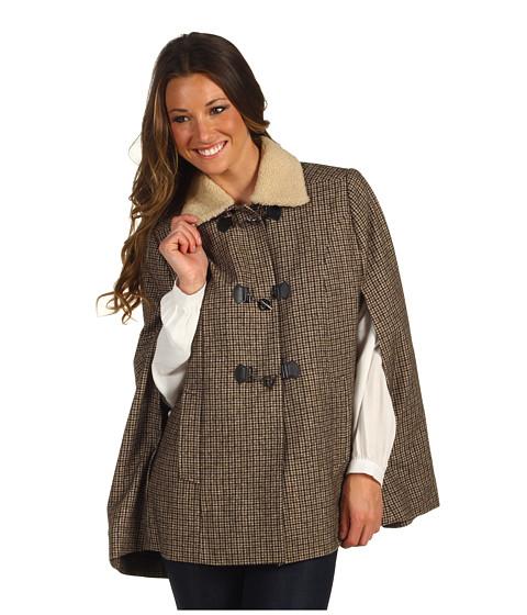 Jachete Cole Haan - Shearling Collar Wool Capelet - Plaid