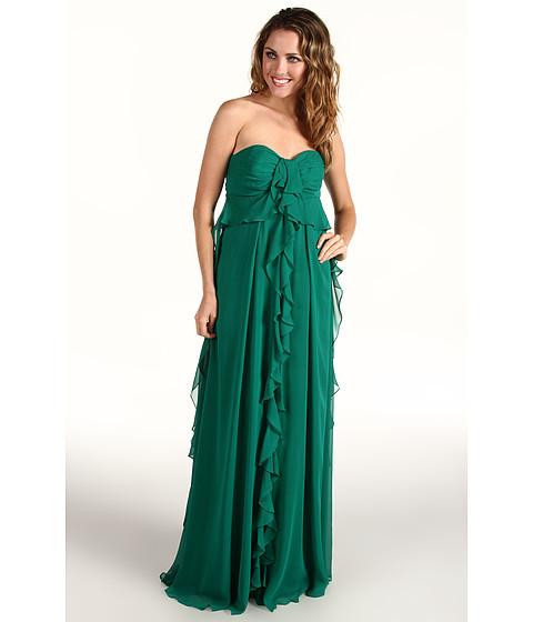 Rochii Badgley Mischka - Strapless Ruffle Front Gown - Emerald