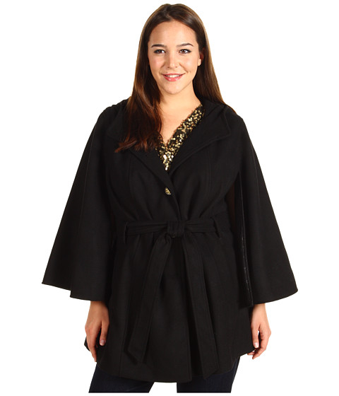 Jachete Jessica Simpson - Plus Size Hooded Belted Cape - Black