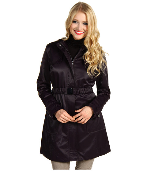 Jachete Jessica Simpson - Satin Hooded Belted Raincoat - Aubergine