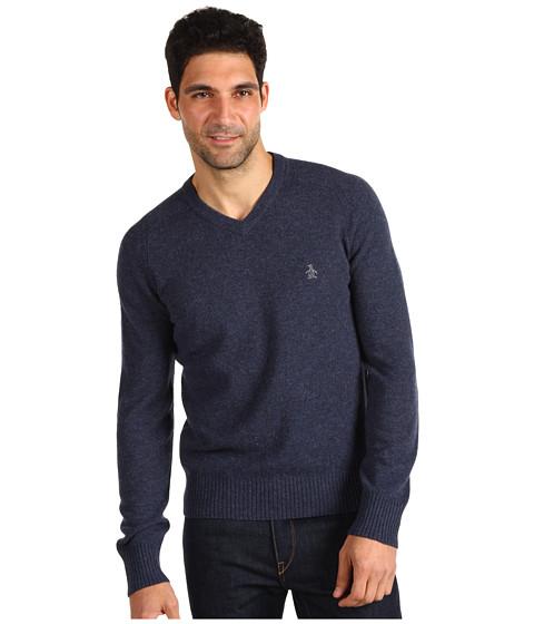 Pulovere Original Penguin - Donegal Saddle Raglan V-Neck Sweater - Denim Blue Heather