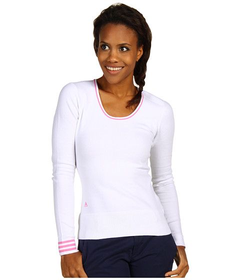 Bluze adidas Golf - 3-Stripes Scoop Neck Sweater - White/Peony