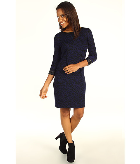 Rochii DKNY - Leopard Jacquard 3/4 Sleeve Dress w/ Faux Leather - Indigo
