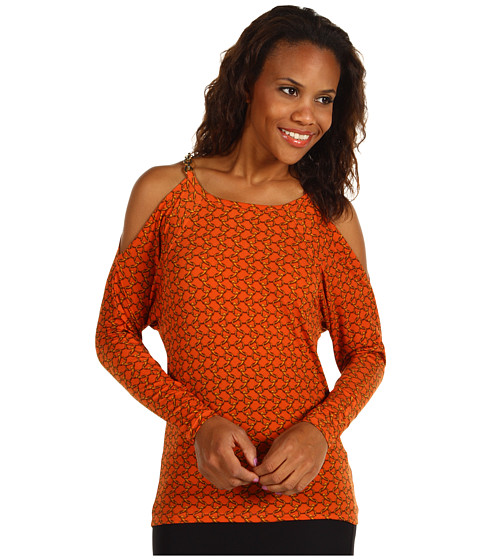 Bluze Michael Kors - Durham Chain Print L/S Cold Shoulder Top - Orange Spice