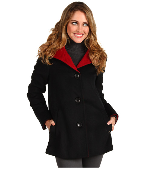 Geci Ellen Tracy - Angora Colorblocked Car Coat - Black/Ruby