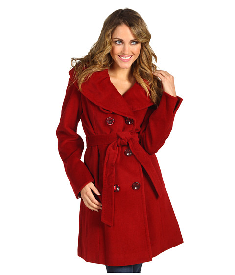 Geci Ellen Tracy - Belted 3/4 w/Rouched Collar - Ruby