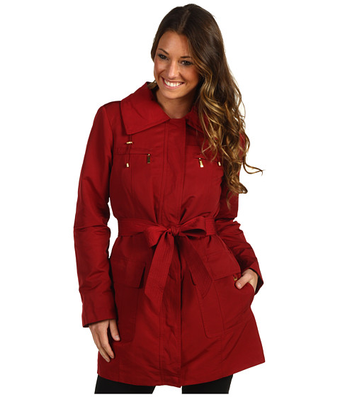 Geci Ellen Tracy - Belted Trench w/Stowed Hood - Ruby