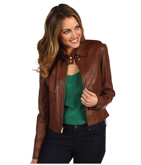 Jachete Anne Klein - Faux Leather Jacket - Luggage