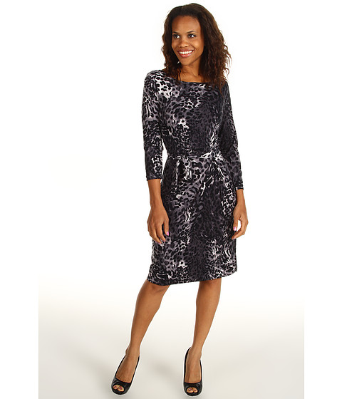 Rochii Anne Klein - Leopard Print Wrap Dress - Carbon Multi