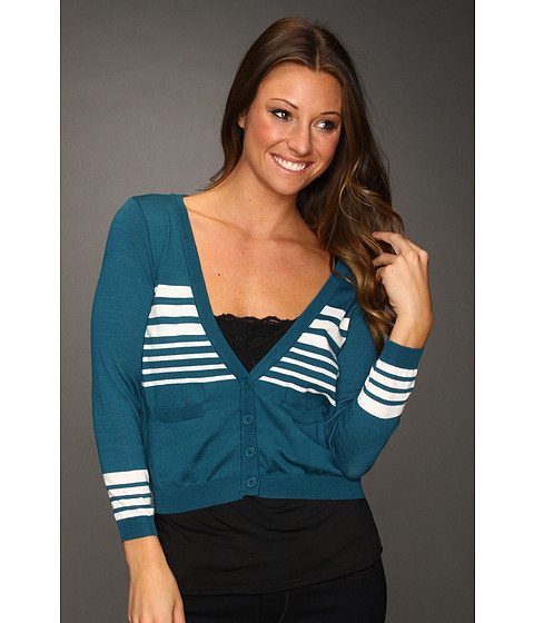 Bluze Gabriella Rocha - Hallee Cropped Sweater - Teal/ White