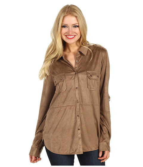 Bluze Gabriella Rocha - Erma Button Down Long Sleeve Top - Taupe