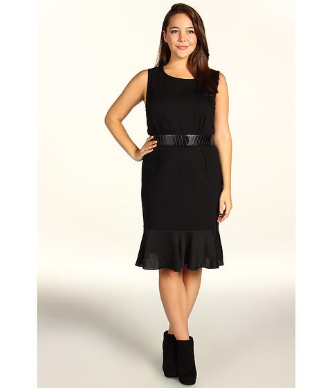 Rochii DKNY - Plus Size Sleeveless Dress w/ Lightweight Satin Flounce - Black