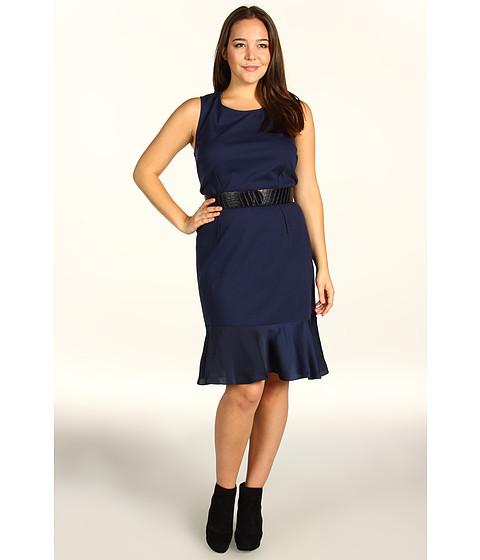 Rochii DKNY - Plus Size Sleeveless Dress w/ Lightweight Satin Flounce - Ink