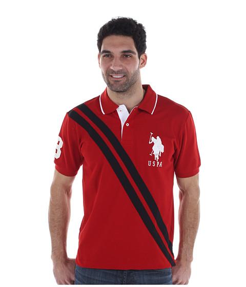 Tricouri U.S. Polo Assn - Pique Polo W/ Double Diagonal Stripe - Barn Red