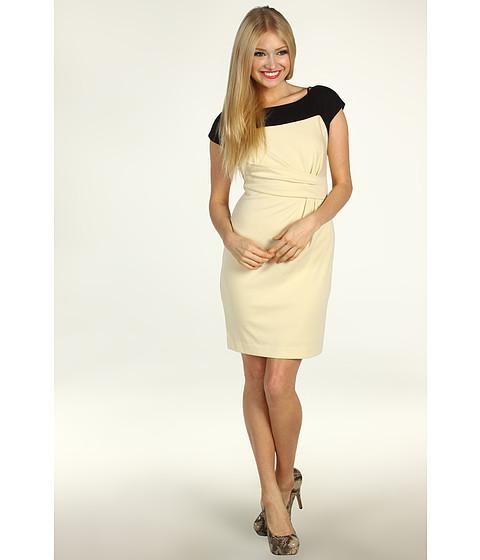 Rochii Jessica Simpson - Contrast Yoke Asymmetrical Dress - Creme Brulee/Black