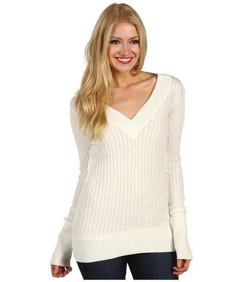 Bluze Christin Michaels - Estie Ribbed Sweater - White