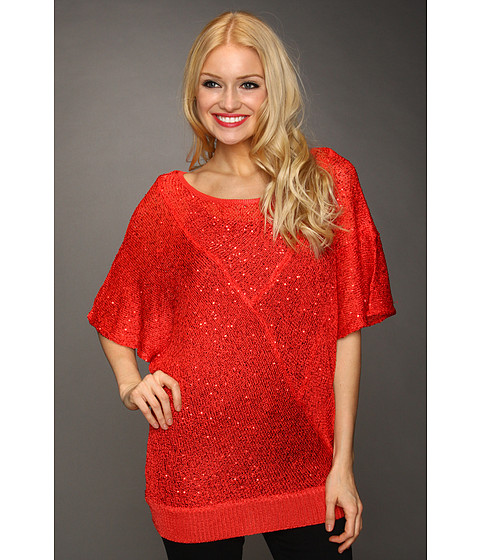 Tricouri Christin Michaels - Lissee Sequin Knit Top - Red