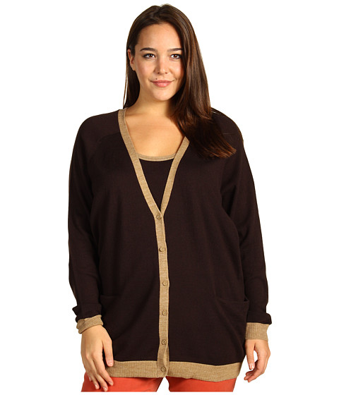 Pulovere Anne Klein New York - Plus Size L/S Cardigan w/ Contrast Trim - Chocolate/Cappuccino