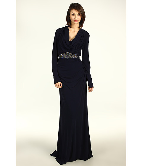 Rochii Badgley Mischka - Long Sleeve Cowl Neck Gown with Belt - Navy