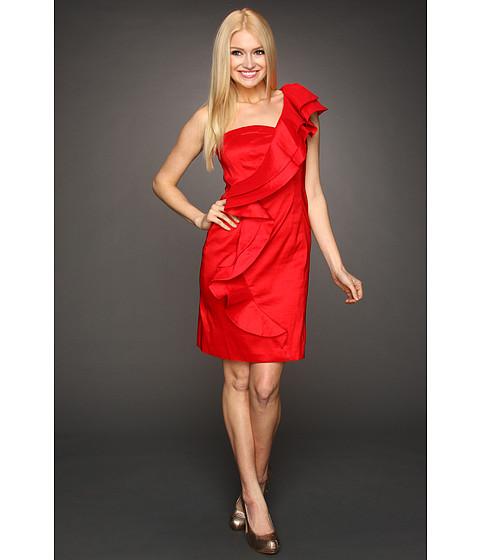 Rochii Jessica Simpson - Ruffle Shoulder Taffeta Dress - Red