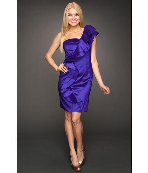 Rochii Jessica Simpson - Ruffle Shoulder Taffeta Dress - Violet