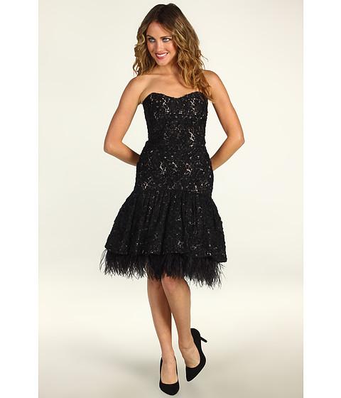 Rochii Badgley Mischka - Drop Waist Embroidered Lace Cocktail Dress - Black