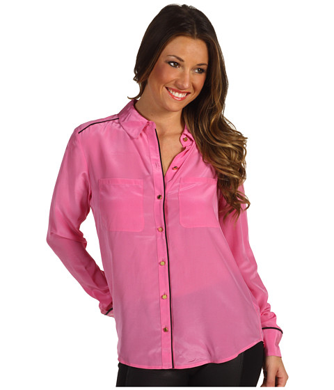 Bluze Juicy Couture - Silk CDC Shirt - Pink Topaz w/ Black Piping