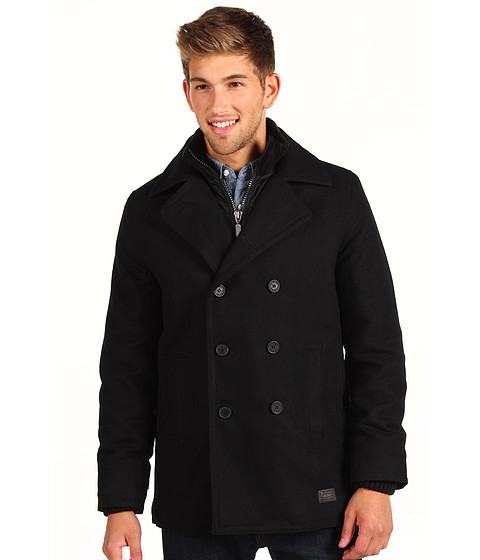 Jachete Ben Sherman - Ribbed Funnel Neck Melton Peacoat - Black