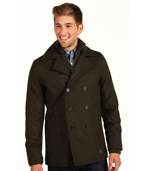 Jachete Ben Sherman - Ribbed Funnel Neck Melton Peacoat - Privet