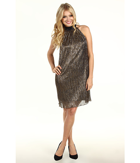 Rochii Laundry by Shelli Segal - Metal Pleat Dress With Bow Accent - Gold/Silver