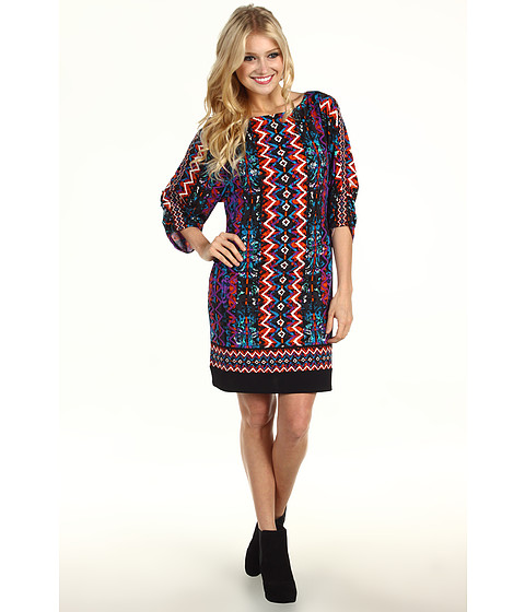 Rochii Laundry by Shelli Segal - Tucked Sleeve Border Print Dress - Blue Jewel