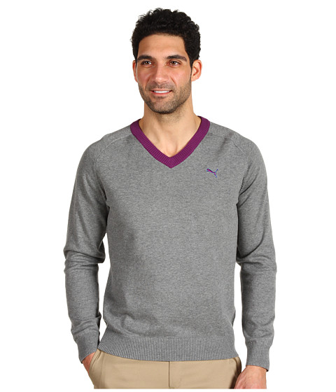 Pulovere PUMA - Golf V-Neck Sweater - Medium Gray Heather