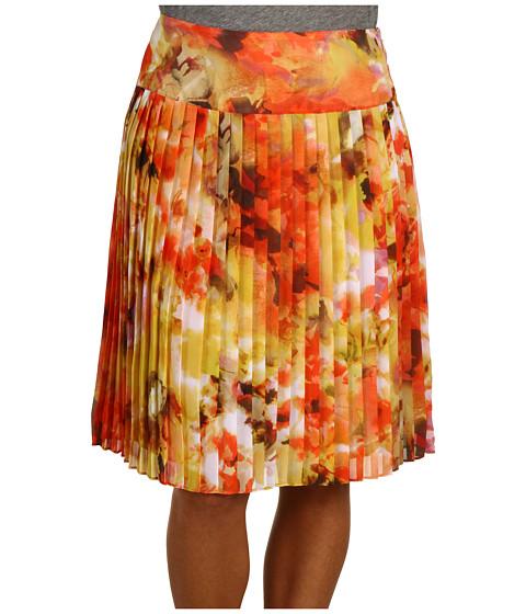 """Fuste Jones New York - 23\"""" Allover Floral Knife Pleat Skirt - Nectarine Multi"""