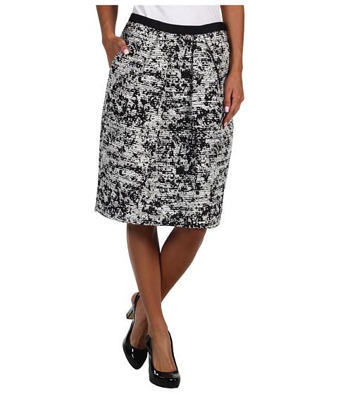Fuste Jones New York - Abstract Plaid Grosgrain Waist Pleat Front Skirt - JBlack/JIvory
