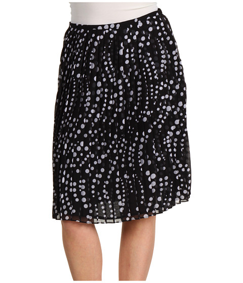 Fuste Jones New York - Petite Pleated Short Skirt - Black/White