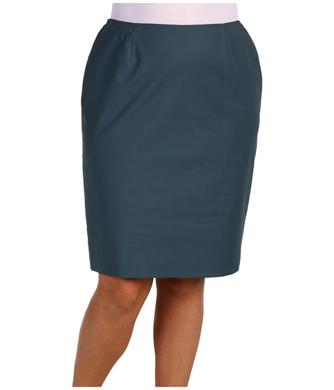 Fuste Jones New York - Plus Size Shelter Island Slim Skirt - Slate Blue