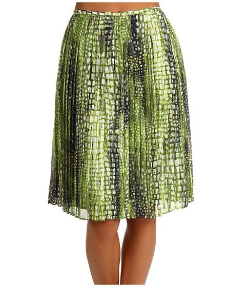 Fuste Jones New York - Shelter Island Pleated Mid Length Skirt - Vine Multi