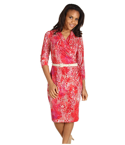 Rochii Jones New York - Animal Print 3/4 Sleeve Wrap Dress - Multi