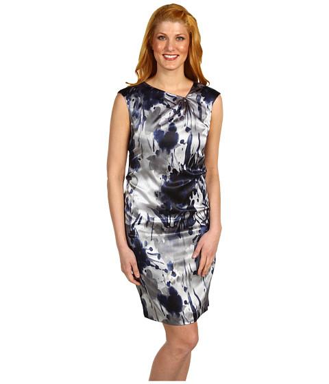 Rochii Jones New York - Floral Asymmetrical Neckline Dress - Midnight Multi