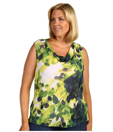 Tricouri Jones New York - Plus Size Shelter Island S/L High Drape Blouse - Slate Blue Multi