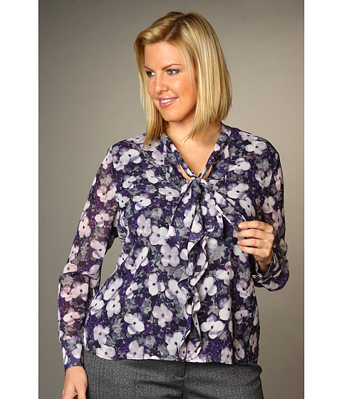 Tricouri Jones New York - Scattered Floral Relaxed Ruffle Tie Neck Blouse - Multi