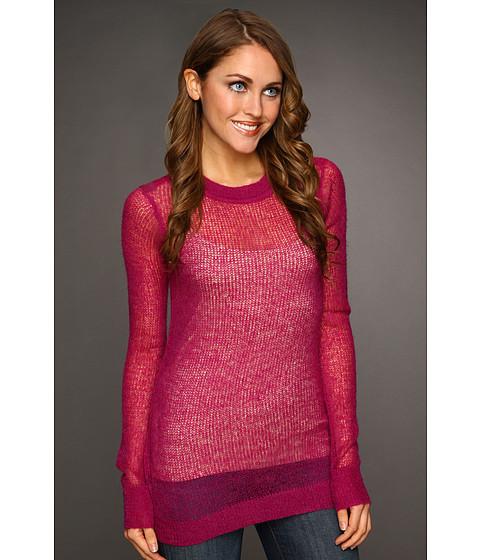 Bluze Kenneth Cole - Long Sleeve Ballet Neck Open Stitch Sweater - Bright Fuchsia