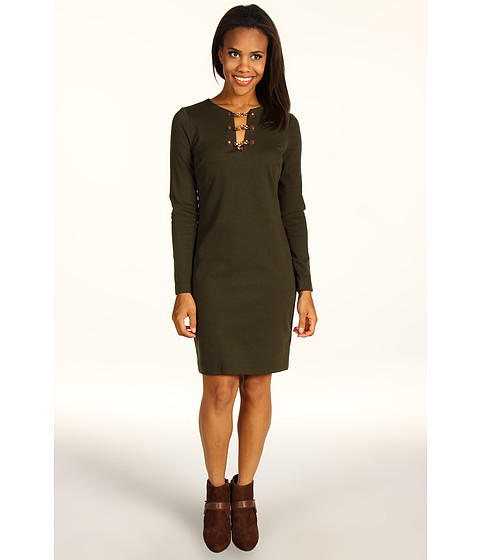 Rochii MICHAEL Michael Kors - Solid Ponte L/S V-Neck Toggle Trim Dress - Rich Olive