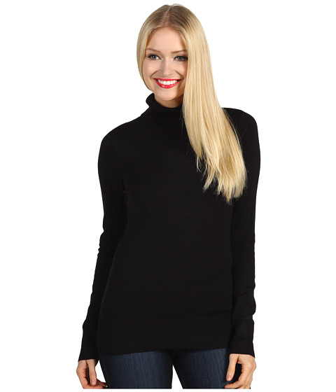 Pulovere French Connection - Solid Baby Knit Turtleneck Sweater - Black